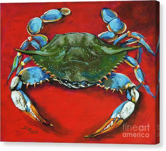 Seafood Canvas Print - Louisiana Blue On Red by Dianne Parks