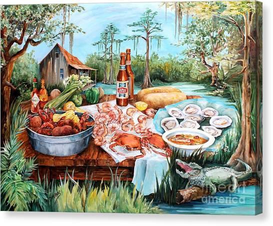 Hot Sauce Canvas Print - Louisiana Feast by Diane Millsap