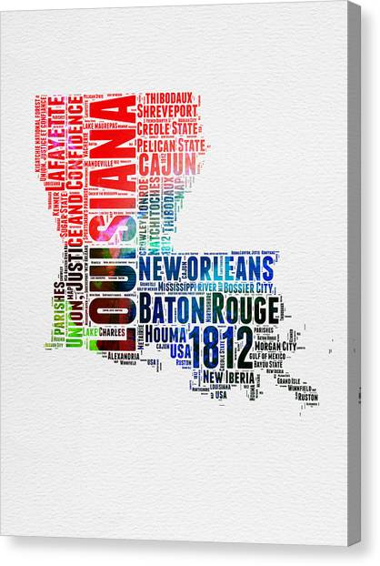 Louisiana Canvas Print - Louisiana Watercolor Word Cloud Map  by Naxart Studio