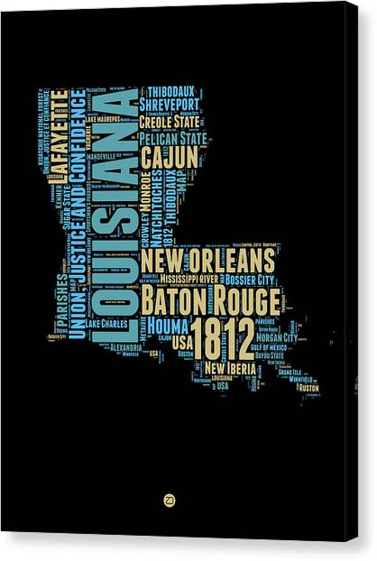 Louisiana Canvas Print - Louisiana Word Cloud Map 1 by Naxart Studio