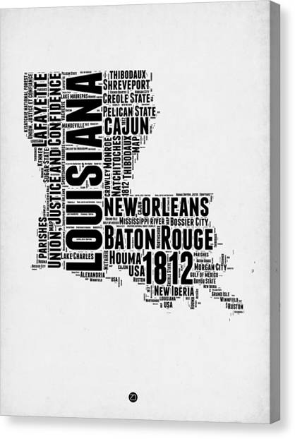 Louisiana Canvas Print - Louisiana Word Cloud Map 2 by Naxart Studio