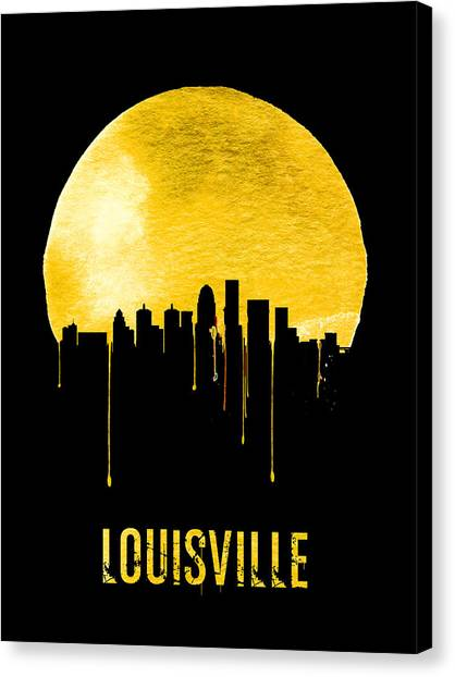 Kentucky Canvas Print - Louisville Skyline Yellow by Naxart Studio