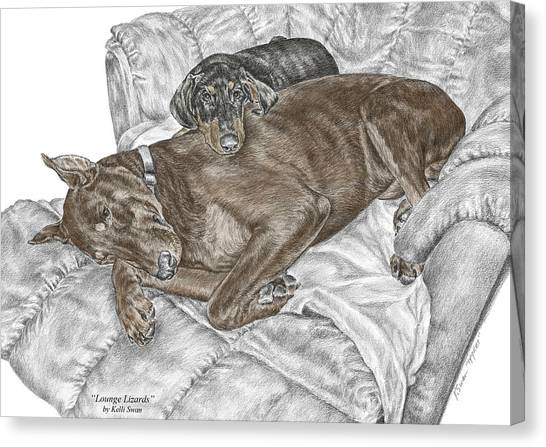 Lounge Lizards - Doberman Pinscher Puppy Print Color Tinted Canvas Print