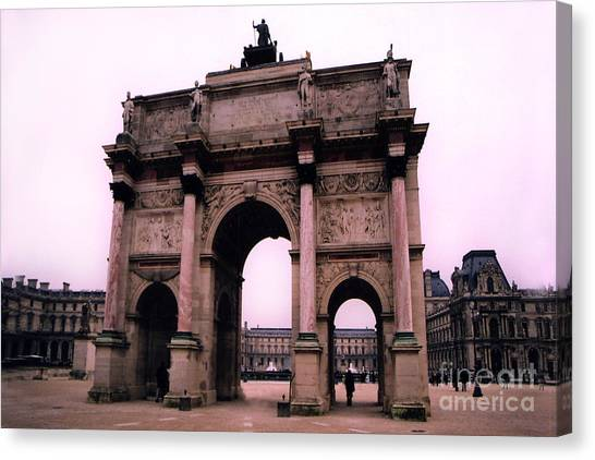 The Louvre Canvas Print - Louvre Museum Entrance Courtyard Arc De Triomphe Arch Landmark - Paris Louvre Museum Architecture by Kathy Fornal