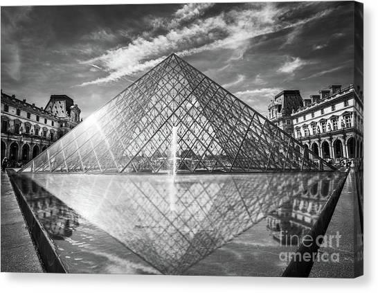The Louvre Canvas Print - Louvre Pyramid, Paris by Delphimages Photo Creations