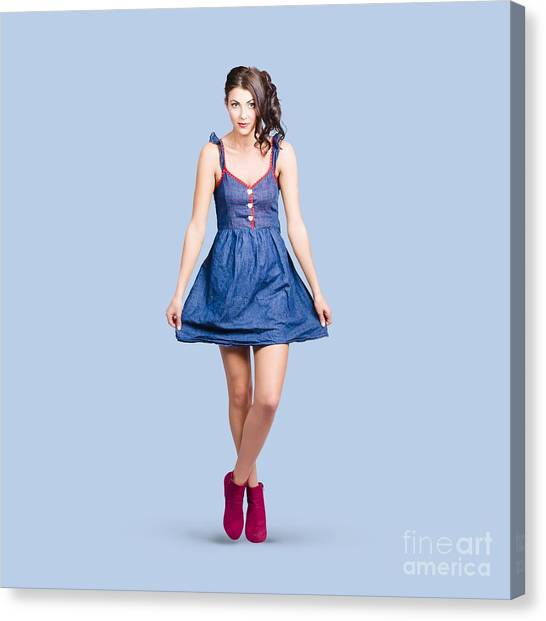 Pinup Canvas Print - Lovable Eighties Female Pin-up In Denim Dress by Jorgo Photography - Wall Art Gallery