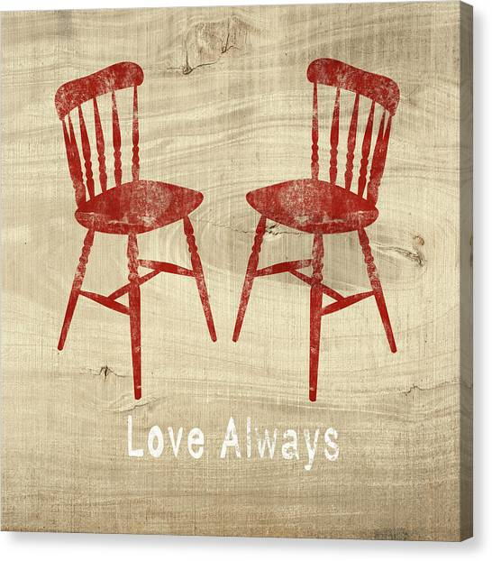 Farmhouse Canvas Print - Love Always Red Chairs- Art By Linda Woods by Linda Woods