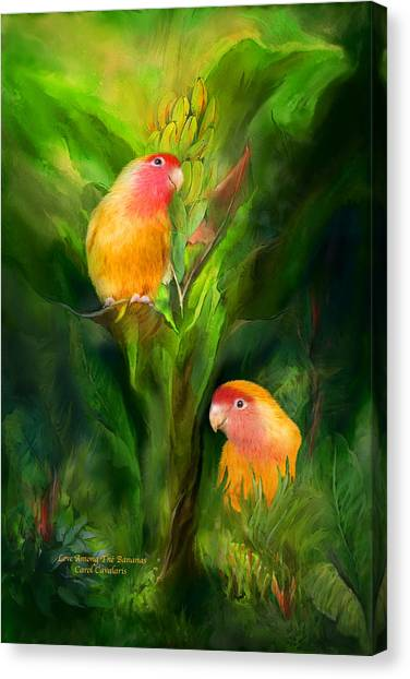Lovebirds Canvas Print - Love Among The Bananas by Carol Cavalaris