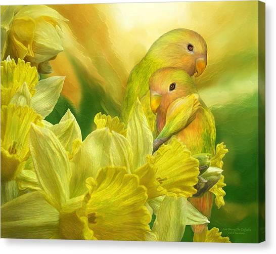 Lovebirds Canvas Print - Love Among The Daffodils by Carol Cavalaris