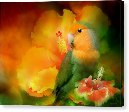 Parrot Canvas Print - Love Among The Hibiscus by Carol Cavalaris