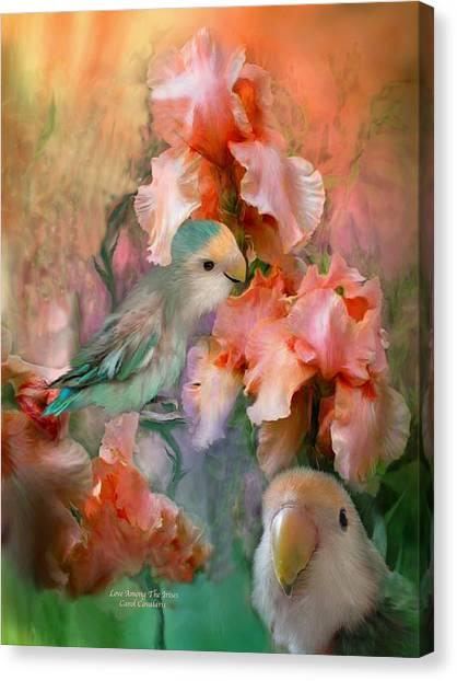 Lovebirds Canvas Print - Love Among The Irises by Carol Cavalaris