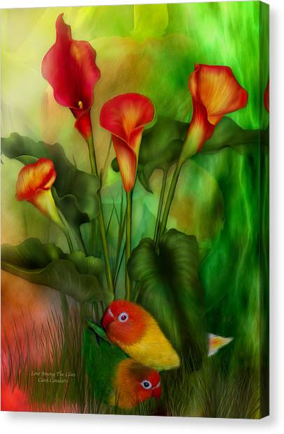 Lovebirds Canvas Print - Love Among The Lilies  by Carol Cavalaris