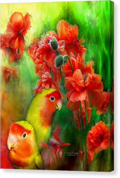 Lovebirds Canvas Print - Love Among The Poppies by Carol Cavalaris