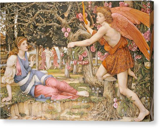 Victorian Garden Canvas Print - Love And The Maiden by JRS Stanhope