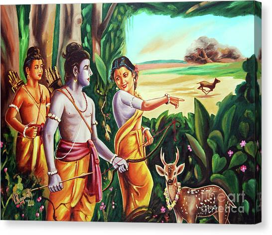 Love And Valour- Ramayana- The Divine Saga Canvas Print