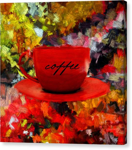 Coffee Shops Canvas Print - Love At First Sip by Lourry Legarde