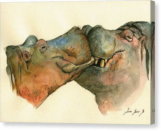 Hippos Canvas Print - Love Between Hippos by Juan  Bosco