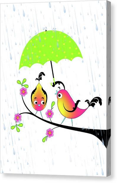 Love Birds In Rain Canvas Print