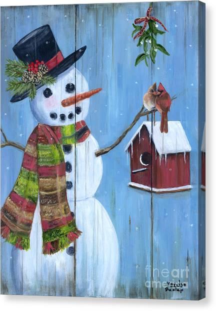 Mistletoe Canvas Print - Love Birds by Marilyn Dunlap
