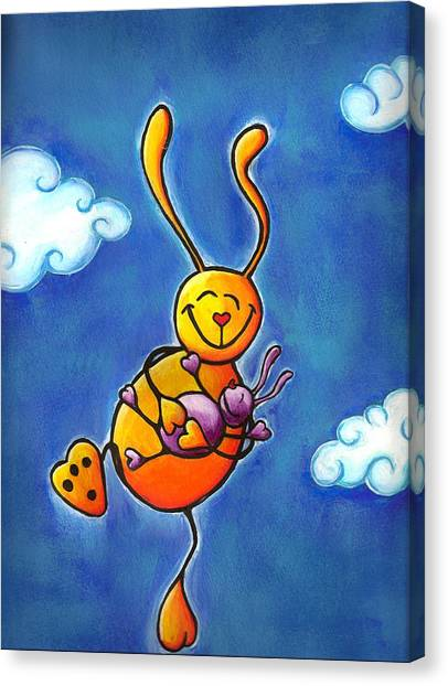 New Baby Canvas Print - Love Bunnies High In Sky by Laura Ostrowski