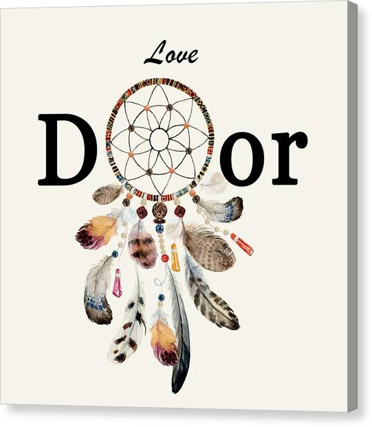 Canvas Print featuring the painting Love Dior Watercolour Dreamcatcher by Georgeta Blanaru
