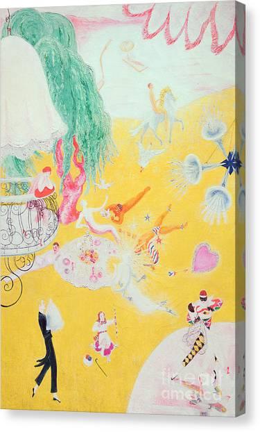 Imagination Canvas Print - Love Flight Of A Pink Candy Heart by  Florine Stettheimer