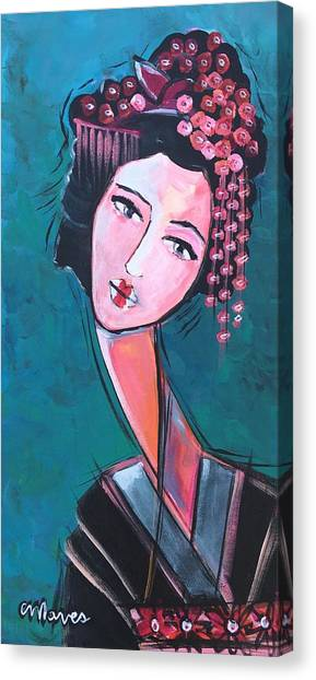 Canvas Print featuring the painting Love For Geisha Girl by Laurie Maves ART