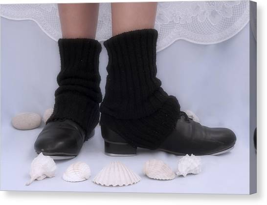 Tap Dance Canvas Print - Love For Tap Dance Shoes In Dance Warmers by Pedro Cardona Llambias