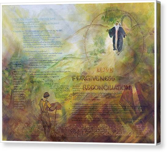 God Of War Canvas Print - Love Forgiveness Reconciliation by Judy Dodds