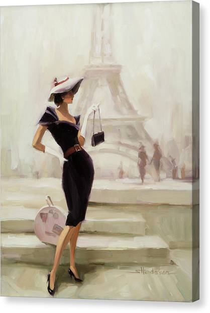 Eiffel Tower Canvas Print - Love, From Paris by Steve Henderson