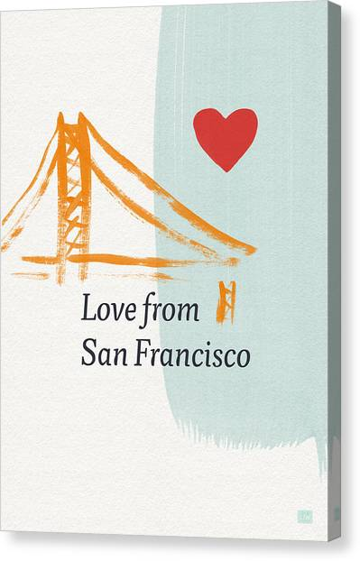Heart Canvas Print - Love From San Francisco- Art By Linda Woods by Linda Woods