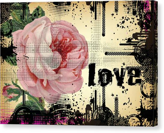 Love Grunge Rose Canvas Print