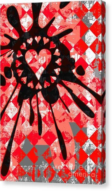 Love Heart Splatter Canvas Print