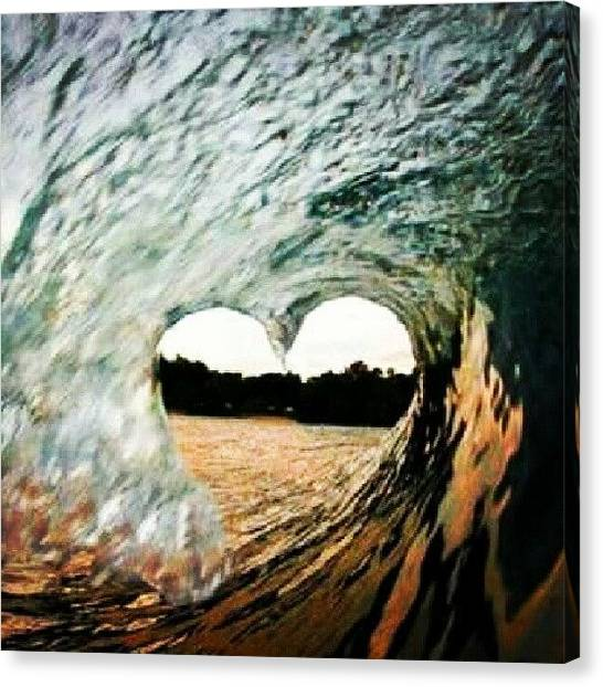 Hearts Canvas Print - #love #heart #wave #beach by Lucy Guedes