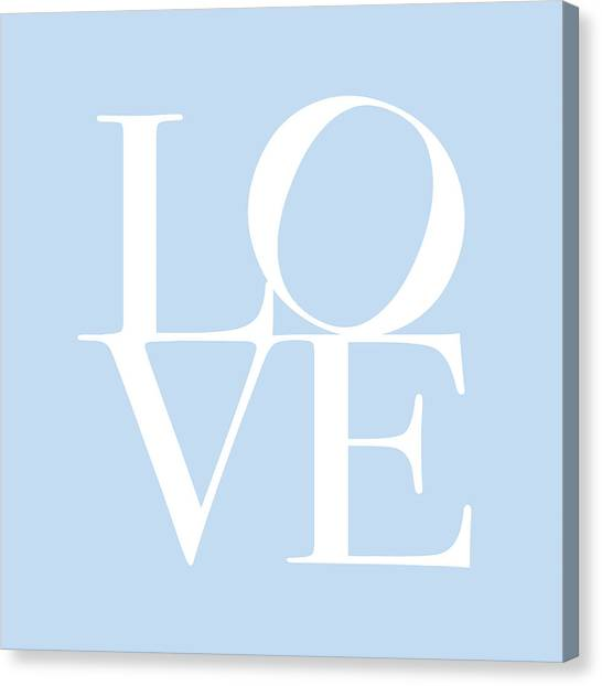 Anniversary Canvas Print - Love In Baby Blue by Michael Tompsett