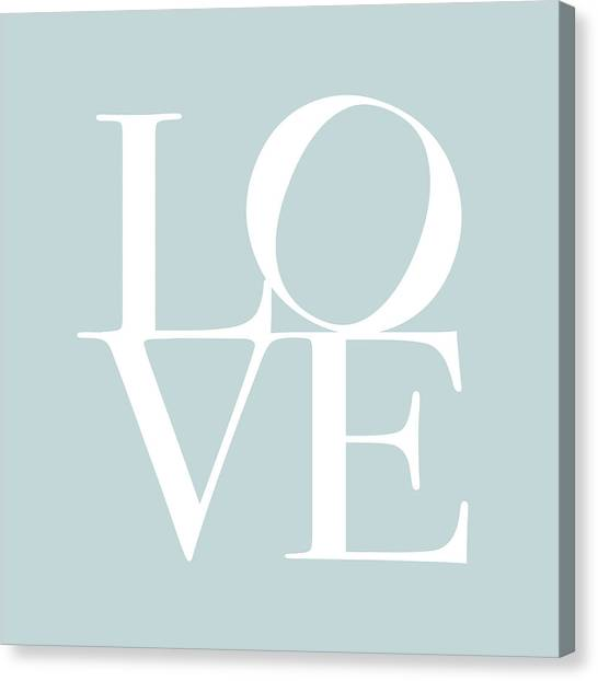 Anniversary Canvas Print - Love In Duck Egg Blue by Michael Tompsett