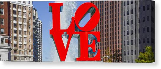 Canvas Print featuring the photograph Love In Philadelphia Pa by Bill Cannon