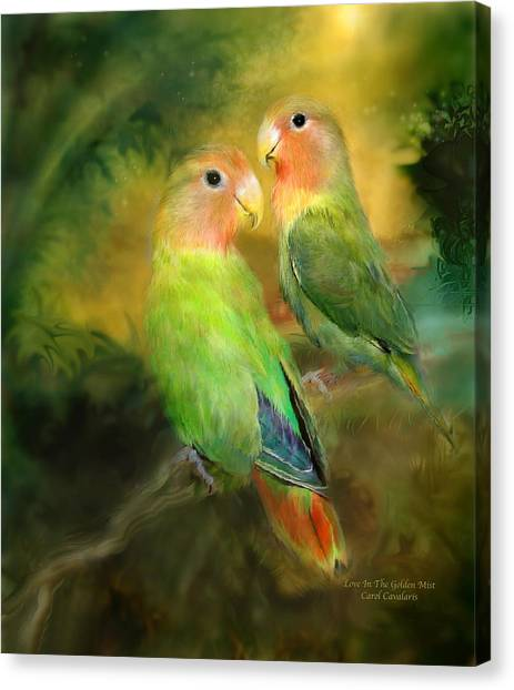 Lovebirds Canvas Print - Love In The Golden Mist by Carol Cavalaris