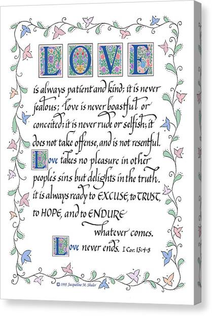 Love Is Always Patient-with Border Canvas Print