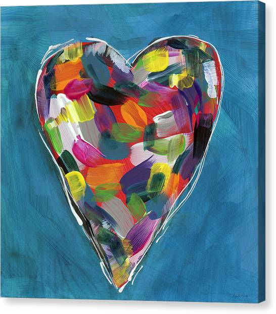 Heart Canvas Print - Love Is Colorful In Blue- Art By Linda Woods by Linda Woods