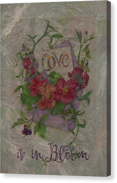 Canvas Print featuring the painting Love Is In Bloom Botanical by Judith Cheng
