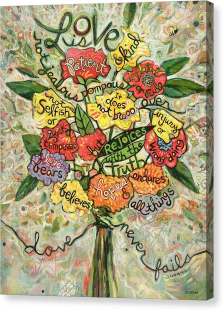 Biblical Canvas Print - Love Is Patient by Jen Norton