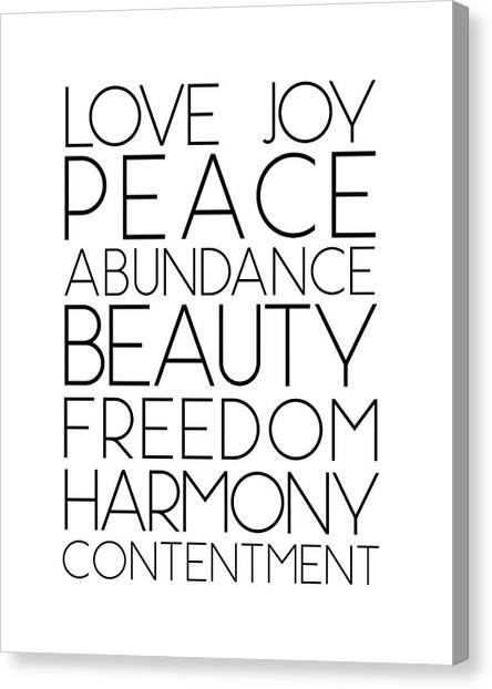 Love Joy Peace Beauty Virtues Canvas Print