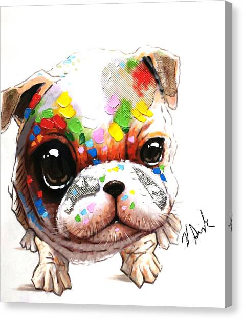 English Bull Dogs Canvas Print - Love My Pug  by Vanessa Sisk