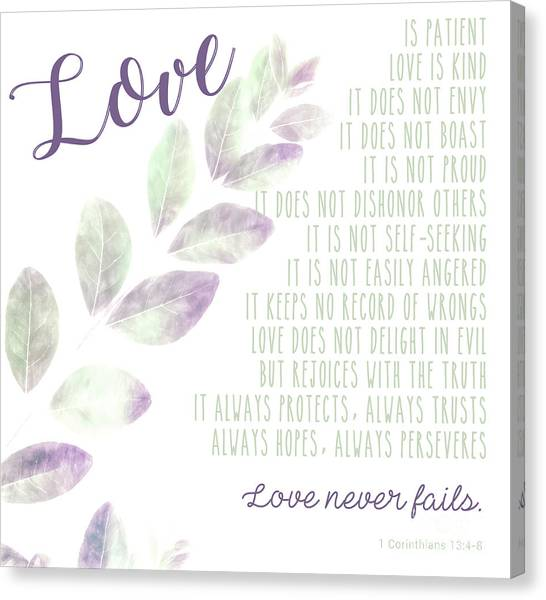 Love Never Fails Canvas Print