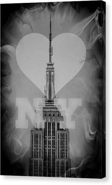 Empire Canvas Print - Love New York Bw by Az Jackson