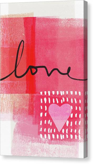 Hearts Canvas Print - Love Notes- Art By Linda Woods by Linda Woods