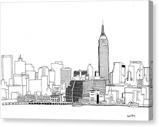Simplistic Canvas Print - Love Nyc Monochrome by Callan Percy