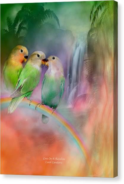 Lovebirds Canvas Print - Love On A Rainbow by Carol Cavalaris