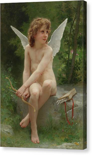 Academic Art Canvas Print - Love On The Lookout by Adolphe William Bouguereau